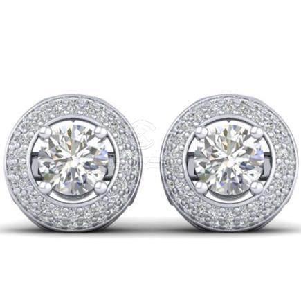 1.75 CTW VS/SI Diamond Art Deco Halo Stud Earrings Gold