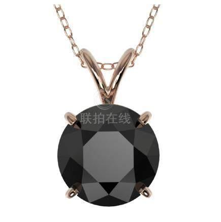 2 CTW Fancy Black VS Diamond Solitaire Necklace Gold -