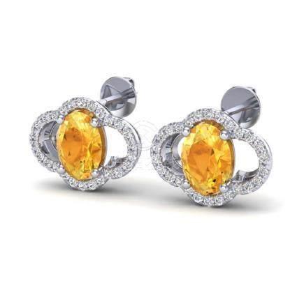3.50 CTW Citrine & VS/SI Diamond Earrings Gold -