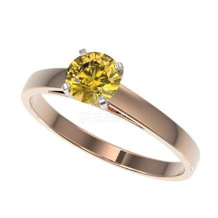 0.77 CTW Intense Yellow SI Diamond Solitaire Ring Gold