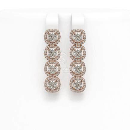 3.84 CTW Cushion Diamond Earrings 18K Rose Gold -