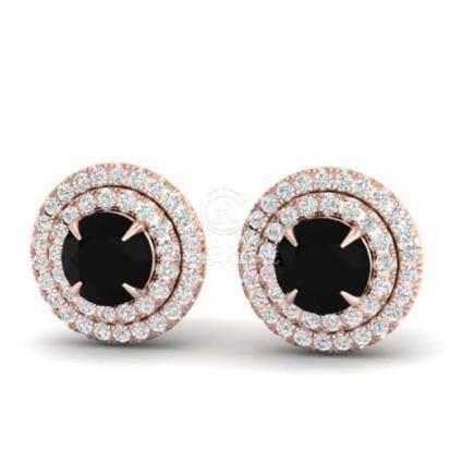 2 CTW VS/SI Diamond Stud Earrings Halo 14K Gold -