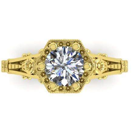 1 CTW Solitaire VS/SI Diamond Ring 18K Art Deco Gold -
