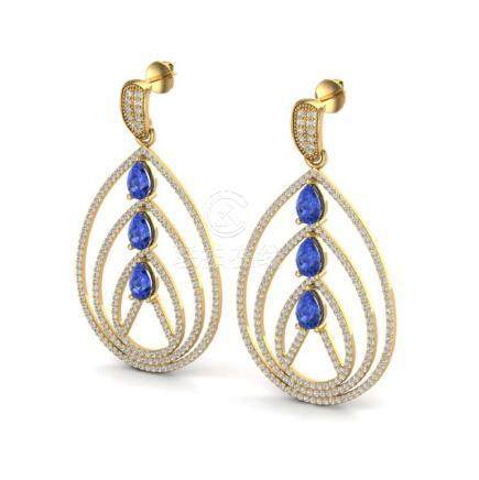 4 CTW Tanzanite & VS/SI Diamond Earrings 18K Gold -