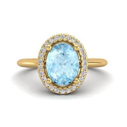 1.50 CTW Aquamarine & VS/SI Diamond Ring Halo 18K Gold