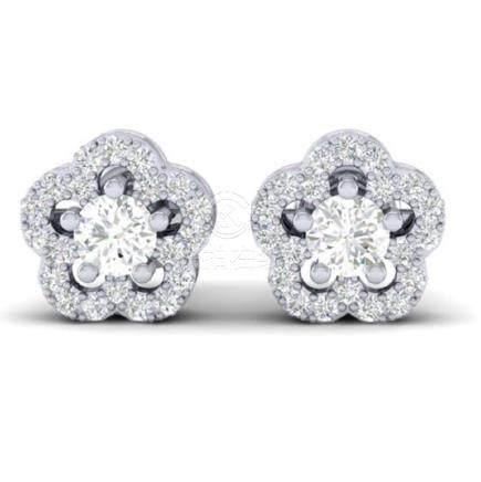 0.50 CTW VS/SI Diamond Earrings Moon Halo In Gold -