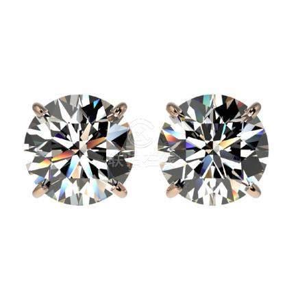 1.91 CTW H-SI/I Quality Diamond Stud Earrings Gold -