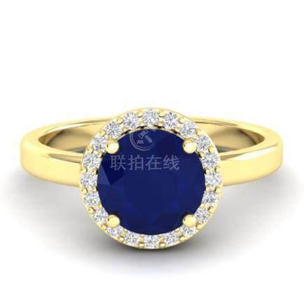 2 CTW Sapphire & Halo VS/SI Diamond Ring 18K Gold -