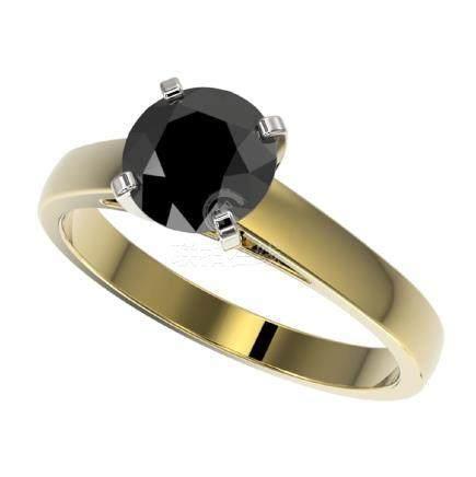1.50 CTW Fancy Black VS Diamond Solitaire Ring Gold -