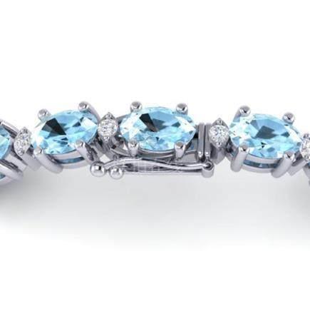 10 CTW Aquamarine & VS/SI Diamond Eternity Bracelet