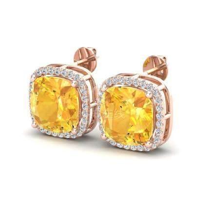 12 CTW Citrine & Halo VS/SI Diamond Earrings 14K Gold -