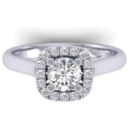 1.01 CTW VS/SI Diamond Solitaire Halo Ring 18K Gold -