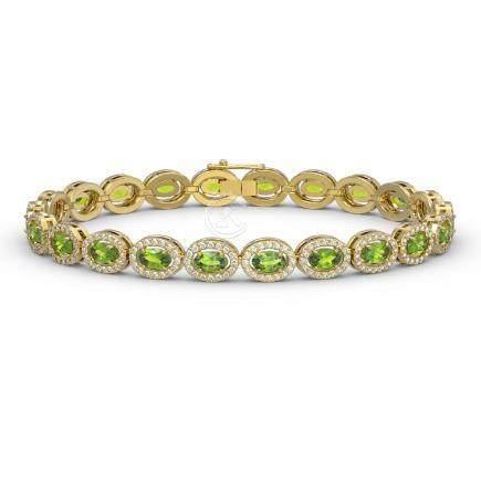 10.67 CTW Peridot & Diamond Halo Bracelet Yellow Gold -
