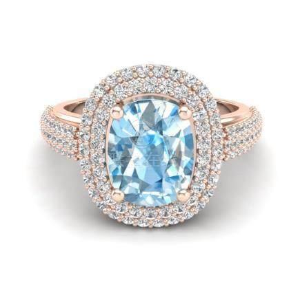 3.50 CTW Topaz & VS/SI Diamond Halo Ring Gold -