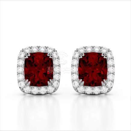 2.50 CTW Garnet & VS/SI Diamond Halo Earrings Gold -