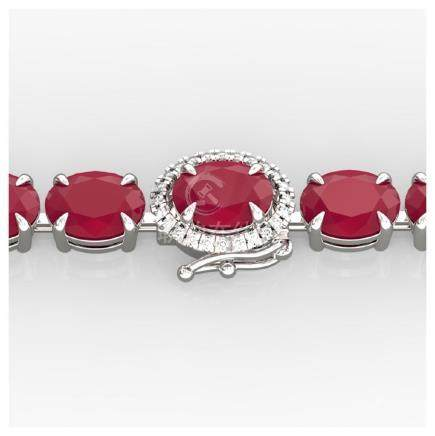 23.25 CTW Ruby & Diamond Eternity Tennis Bracelet 14K