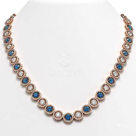 31.18 CTW Blue & White Diamond Necklace 18K Rose Gold -