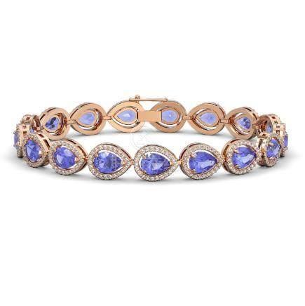 19.14 CTW Tanzanite & Diamond Halo Bracelet Rose Gold -