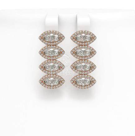 5.33 CTW Marquise Diamond Earrings 18K Rose Gold -