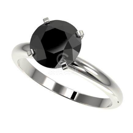 2.59 CTW Fancy Black VS Diamond Solitaire Ring Gold -