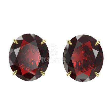 18 CTW Garnet Solitaire Stud Earrings 18K Gold -