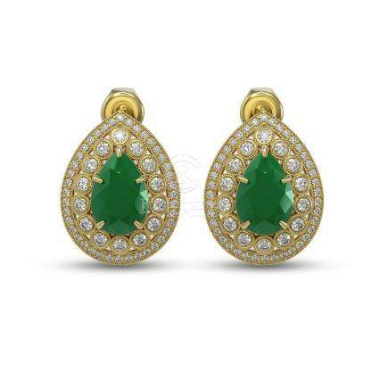 9.74 CTW Emerald & Diamond Earrings 14K Yellow Gold -