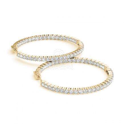 5.5 CTW Diamond VS/SI 45 Mm Hoop Earrings 14K Yellow
