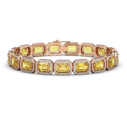 23.74 CTW Fancy Citrine & Diamond Halo Bracelet Rose