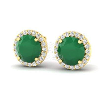 4 CTW Emerald & Halo VS/SI Diamond Earrings 18K Gold -