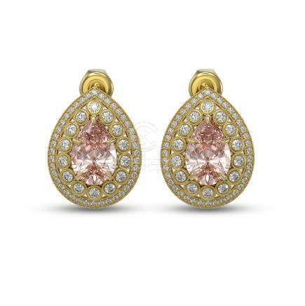 7.94 CTW Morganite & Diamond Earrings 14K Yellow Gold -