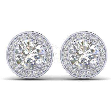 1.85 CTW I-Si Diamond Solitaire Stud Halo Earrings Gold