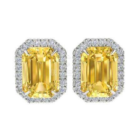 8.40 CTW Citrine & VS/SI Diamond Halo Earrings 18K Gold