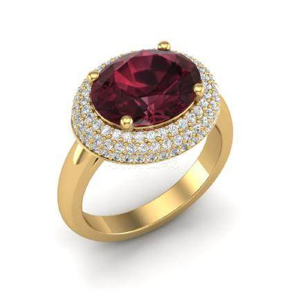 4.50 CTW Garnet & VS/SI Diamond Ring 18K Gold -