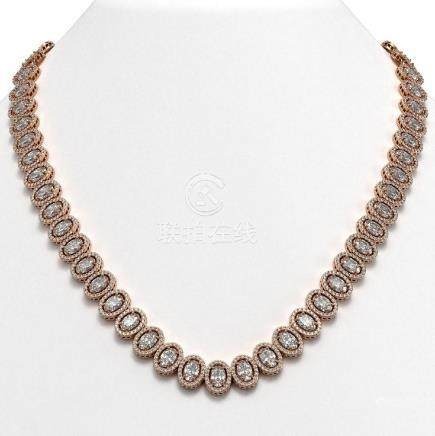 34.72 CTW Oval Diamond Necklace 18K Rose Gold -
