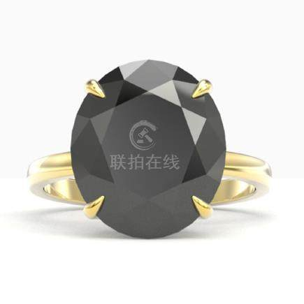 9 CTW Black VS/SI Diamond Engagement Ring 18K Gold -