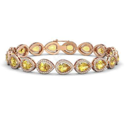 15.91 CTW Fancy Citrine & Diamond Halo Bracelet Rose