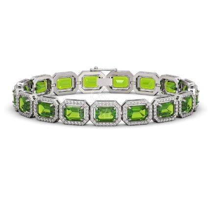 25.41 CTW Peridot & Diamond Halo Bracelet White Gold -