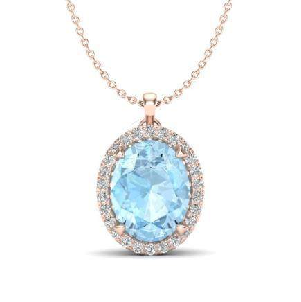 2.75 CTW Aquamarine & VS/SI Diamond Halo Necklace 14K