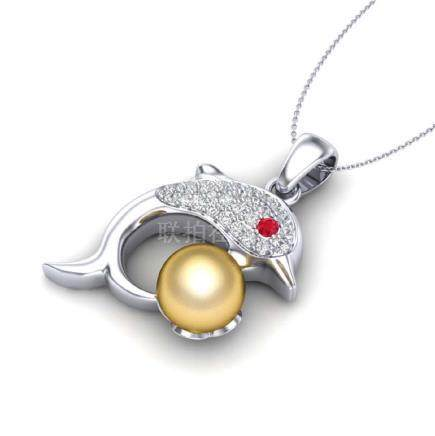 0.65 CTW Diamond & Golden Pearl Dolphin Necklace 14K