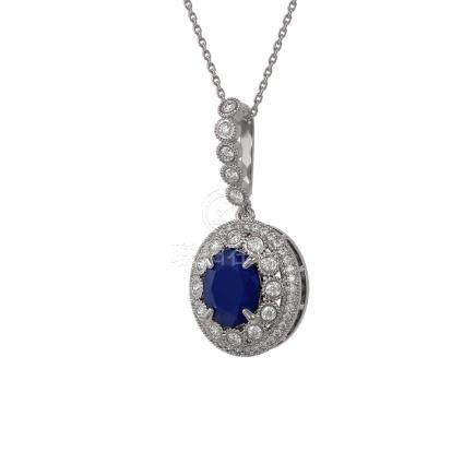 4.67 CTW Sapphire & Diamond Necklace 14K White Gold -