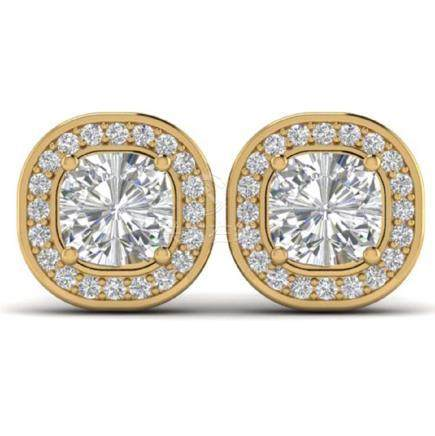 2 CTW Cushion Cut VS/SI Diamond Art Deco Stud Earrings