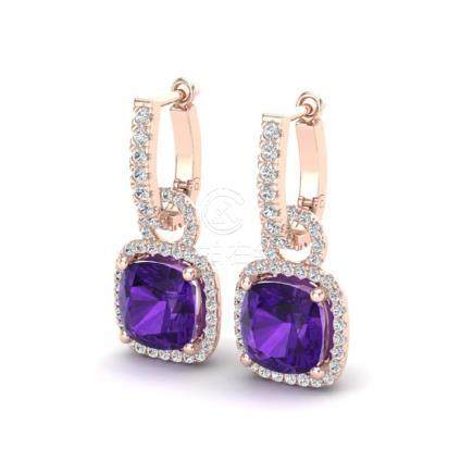 7 CTW Amethyst & VS/SI Diamond Earrings 14K Gold -