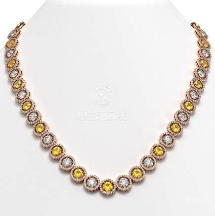 31.64 CTW Canary Yellow & White Diamond Necklace 18K