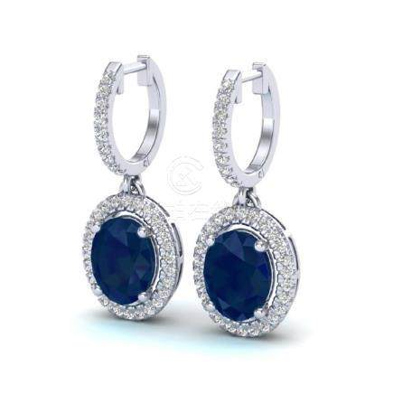 4.25 CTW Sapphire & VS/SI Diamond Earrings Halo 18K