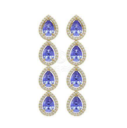 9.01 CTW Tanzanite & Diamond Halo Earrings Yellow Gold