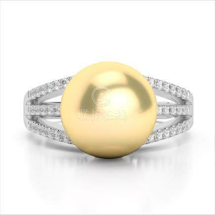 0.30 CTW VS/SI Diamond & Golden Pearl Ring 14K Gold -