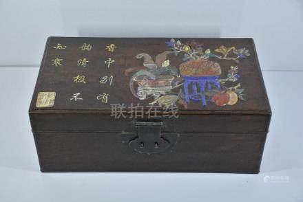 A STONE-INLAID HUANGHUALI BOX AND COVER, QIANLONG MARK,