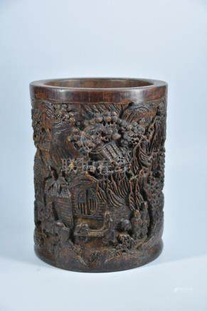 A CARVED BAMBOO BRUSH POT, QING DYNASTY
