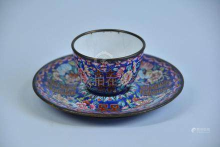 AN ENAMELED BRONZE CUP AND SAUCER, QING DYNASTY