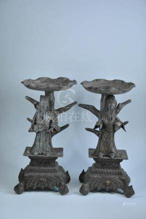 A PAIR OF CARVED PEWTER CANDLE-STICKS  QING DYNASTY